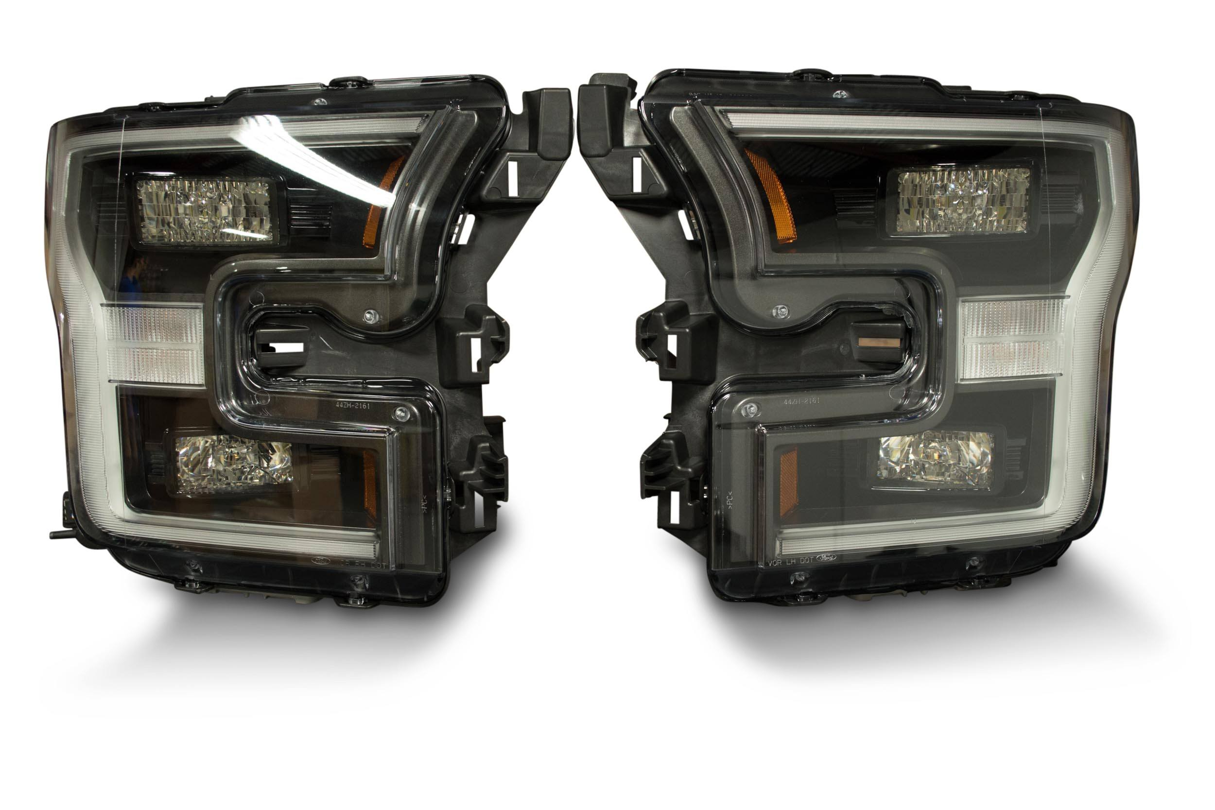 pair 2015 17 ford f150 oem led headlights the hid factory. Black Bedroom Furniture Sets. Home Design Ideas
