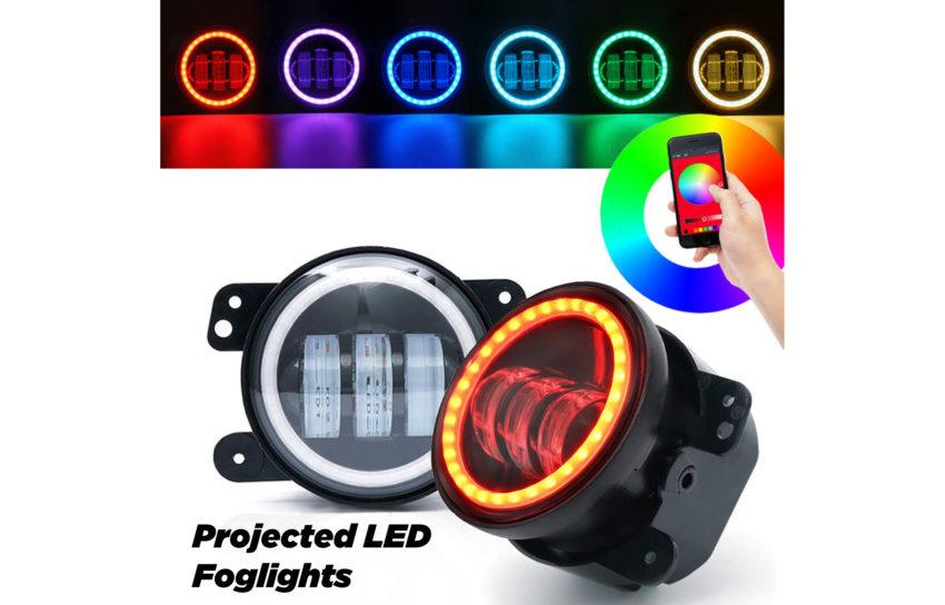 Jeep Wrangler LED Projectors RGB, Change the color of your Wrangler with a custom lighting solution from The HID Factory.